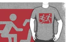 Accessible Exit Sign Project Wheelchair Wheelie Running Man Symbol Means of Egress Icon Disability Emergency Evacuation Fire Safety Adult T-shirt 538