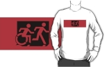 Accessible Exit Sign Project Wheelchair Wheelie Running Man Symbol Means of Egress Icon Disability Emergency Evacuation Fire Safety Adult T-shirt 539