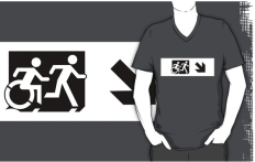 Accessible Exit Sign Project Wheelchair Wheelie Running Man Symbol Means of Egress Icon Disability Emergency Evacuation Fire Safety Adult T-shirt 54