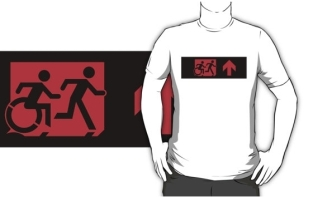 Accessible Exit Sign Project Wheelchair Wheelie Running Man Symbol Means of Egress Icon Disability Emergency Evacuation Fire Safety Adult T-shirt 540