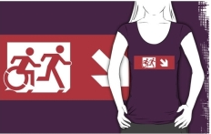 Accessible Exit Sign Project Wheelchair Wheelie Running Man Symbol Means of Egress Icon Disability Emergency Evacuation Fire Safety Adult T-shirt 541