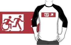 Accessible Exit Sign Project Wheelchair Wheelie Running Man Symbol Means of Egress Icon Disability Emergency Evacuation Fire Safety Adult T-shirt 542