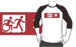 Accessible Exit Sign Project Wheelchair Wheelie Running Man Symbol Means of Egress Icon Disability Emergency Evacuation Fire Safety Adult T-shirt 543