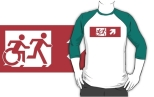 Accessible Exit Sign Project Wheelchair Wheelie Running Man Symbol Means of Egress Icon Disability Emergency Evacuation Fire Safety Adult T-shirt 544