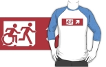 Accessible Exit Sign Project Wheelchair Wheelie Running Man Symbol Means of Egress Icon Disability Emergency Evacuation Fire Safety Adult T-shirt 545