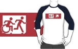 Accessible Exit Sign Project Wheelchair Wheelie Running Man Symbol Means of Egress Icon Disability Emergency Evacuation Fire Safety Adult T-shirt 546
