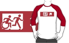 Accessible Exit Sign Project Wheelchair Wheelie Running Man Symbol Means of Egress Icon Disability Emergency Evacuation Fire Safety Adult T-shirt 547