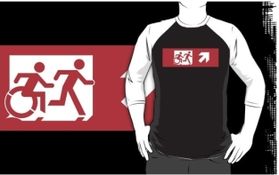 Accessible Exit Sign Project Wheelchair Wheelie Running Man Symbol Means of Egress Icon Disability Emergency Evacuation Fire Safety Adult T-shirt 548