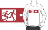 Accessible Exit Sign Project Wheelchair Wheelie Running Man Symbol Means of Egress Icon Disability Emergency Evacuation Fire Safety Adult T-shirt 549