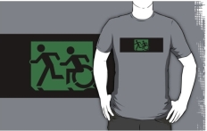 Accessible Exit Sign Project Wheelchair Wheelie Running Man Symbol Means of Egress Icon Disability Emergency Evacuation Fire Safety Adult T-shirt 55