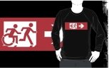 Accessible Exit Sign Project Wheelchair Wheelie Running Man Symbol Means of Egress Icon Disability Emergency Evacuation Fire Safety Adult T-shirt 550