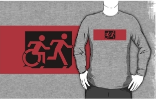 Accessible Exit Sign Project Wheelchair Wheelie Running Man Symbol Means of Egress Icon Disability Emergency Evacuation Fire Safety Adult T-shirt 551