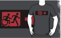 Accessible Exit Sign Project Wheelchair Wheelie Running Man Symbol Means of Egress Icon Disability Emergency Evacuation Fire Safety Adult T-shirt 552