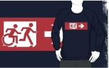 Accessible Exit Sign Project Wheelchair Wheelie Running Man Symbol Means of Egress Icon Disability Emergency Evacuation Fire Safety Adult T-shirt 553