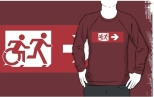 Accessible Exit Sign Project Wheelchair Wheelie Running Man Symbol Means of Egress Icon Disability Emergency Evacuation Fire Safety Adult T-shirt 554