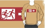 Accessible Exit Sign Project Wheelchair Wheelie Running Man Symbol Means of Egress Icon Disability Emergency Evacuation Fire Safety Adult T-shirt 555