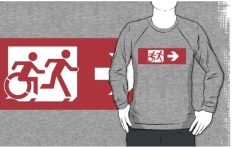 Accessible Exit Sign Project Wheelchair Wheelie Running Man Symbol Means of Egress Icon Disability Emergency Evacuation Fire Safety Adult T-shirt 556