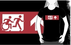 Accessible Exit Sign Project Wheelchair Wheelie Running Man Symbol Means of Egress Icon Disability Emergency Evacuation Fire Safety Adult T-shirt 557