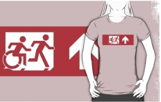 Accessible Exit Sign Project Wheelchair Wheelie Running Man Symbol Means of Egress Icon Disability Emergency Evacuation Fire Safety Adult T-shirt 558