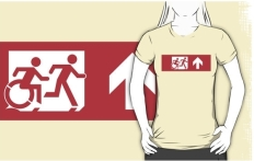 Accessible Exit Sign Project Wheelchair Wheelie Running Man Symbol Means of Egress Icon Disability Emergency Evacuation Fire Safety Adult T-shirt 559