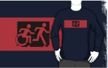 Accessible Exit Sign Project Wheelchair Wheelie Running Man Symbol Means of Egress Icon Disability Emergency Evacuation Fire Safety Adult T-shirt 560