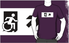 Accessible Exit Sign Project Wheelchair Wheelie Running Man Symbol Means of Egress Icon Disability Emergency Evacuation Fire Safety Adult t-shirt 56