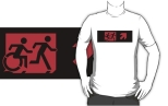 Accessible Exit Sign Project Wheelchair Wheelie Running Man Symbol Means of Egress Icon Disability Emergency Evacuation Fire Safety Adult T-shirt 561