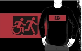 Accessible Exit Sign Project Wheelchair Wheelie Running Man Symbol Means of Egress Icon Disability Emergency Evacuation Fire Safety Adult T-shirt 562