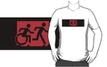 Accessible Exit Sign Project Wheelchair Wheelie Running Man Symbol Means of Egress Icon Disability Emergency Evacuation Fire Safety Adult T-shirt 565