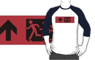 Accessible Exit Sign Project Wheelchair Wheelie Running Man Symbol Means of Egress Icon Disability Emergency Evacuation Fire Safety Adult T-shirt 568
