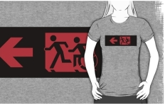 Accessible Exit Sign Project Wheelchair Wheelie Running Man Symbol Means of Egress Icon Disability Emergency Evacuation Fire Safety Adult T-shirt 569