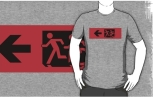 Accessible Exit Sign Project Wheelchair Wheelie Running Man Symbol Means of Egress Icon Disability Emergency Evacuation Fire Safety Adult T-shirt 570