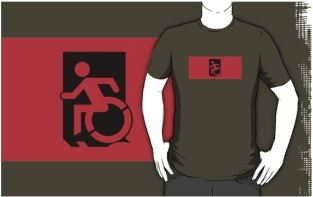 Accessible Exit Sign Project Wheelchair Wheelie Running Man Symbol Means of Egress Icon Disability Emergency Evacuation Fire Safety Adult t-shirt 57
