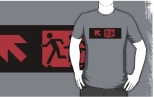 Accessible Exit Sign Project Wheelchair Wheelie Running Man Symbol Means of Egress Icon Disability Emergency Evacuation Fire Safety Adult T-shirt 571
