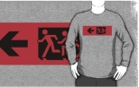 Accessible Exit Sign Project Wheelchair Wheelie Running Man Symbol Means of Egress Icon Disability Emergency Evacuation Fire Safety Adult T-shirt 572