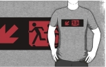 Accessible Exit Sign Project Wheelchair Wheelie Running Man Symbol Means of Egress Icon Disability Emergency Evacuation Fire Safety Adult T-shirt 573