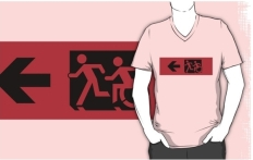 Accessible Exit Sign Project Wheelchair Wheelie Running Man Symbol Means of Egress Icon Disability Emergency Evacuation Fire Safety Adult T-shirt 574