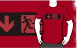 Accessible Exit Sign Project Wheelchair Wheelie Running Man Symbol Means of Egress Icon Disability Emergency Evacuation Fire Safety Adult T-shirt 575