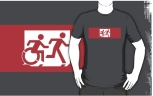 Accessible Exit Sign Project Wheelchair Wheelie Running Man Symbol Means of Egress Icon Disability Emergency Evacuation Fire Safety Adult T-shirt 576