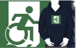 Accessible Exit Sign Project Wheelchair Wheelie Running Man Symbol Means of Egress Icon Disability Emergency Evacuation Fire Safety Adult T-shirt 577
