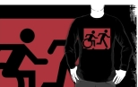 Accessible Exit Sign Project Wheelchair Wheelie Running Man Symbol Means of Egress Icon Disability Emergency Evacuation Fire Safety Adult T-shirt 578