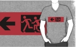 Accessible Exit Sign Project Wheelchair Wheelie Running Man Symbol Means of Egress Icon Disability Emergency Evacuation Fire Safety Adult T-shirt 579