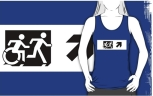 Accessible Exit Sign Project Wheelchair Wheelie Running Man Symbol Means of Egress Icon Disability Emergency Evacuation Fire Safety Adult T-shirt 58