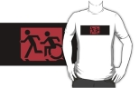 Accessible Exit Sign Project Wheelchair Wheelie Running Man Symbol Means of Egress Icon Disability Emergency Evacuation Fire Safety Adult T-shirt 580