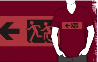 Accessible Exit Sign Project Wheelchair Wheelie Running Man Symbol Means of Egress Icon Disability Emergency Evacuation Fire Safety Adult T-shirt 581