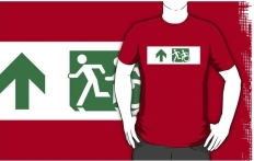 Accessible Exit Sign Project Wheelchair Wheelie Running Man Symbol Means of Egress Icon Disability Emergency Evacuation Fire Safety Adult T-shirt 582