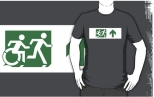 Accessible Exit Sign Project Wheelchair Wheelie Running Man Symbol Means of Egress Icon Disability Emergency Evacuation Fire Safety Adult T-shirt 584