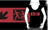Accessible Exit Sign Project Wheelchair Wheelie Running Man Symbol Means of Egress Icon Disability Emergency Evacuation Fire Safety Adult T-shirt 586