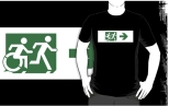 Accessible Exit Sign Project Wheelchair Wheelie Running Man Symbol Means of Egress Icon Disability Emergency Evacuation Fire Safety Adult T-shirt 587
