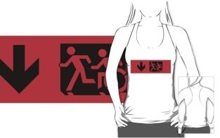 Accessible Exit Sign Project Wheelchair Wheelie Running Man Symbol Means of Egress Icon Disability Emergency Evacuation Fire Safety Adult T-shirt 588